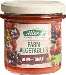 Farm vegetables olijf-tomatenspread